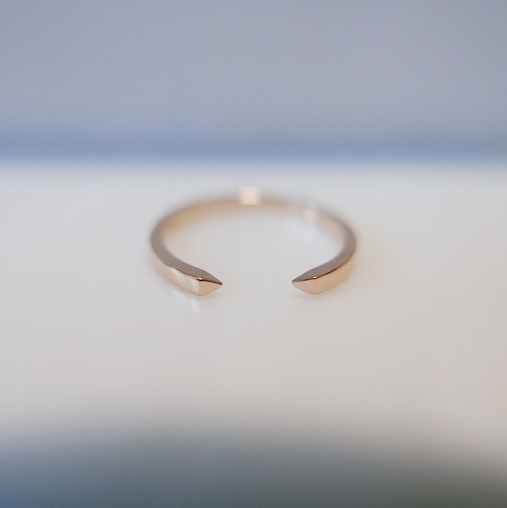 On Pointe Gold Plain Ring, gold cuff ring, stacking open ring, 14k gold cuff ring