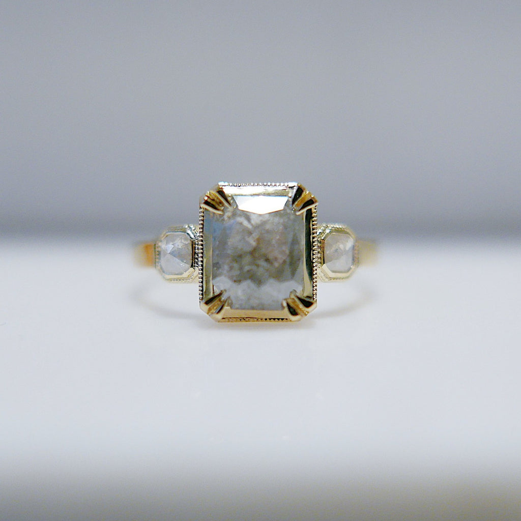 Esme emerald cut Rustic Grey Diamond Ring, OOAK, emerald cut diamond ring, rustic diamond ring, 14k gold ring, OOAK ring, one of a kind ring