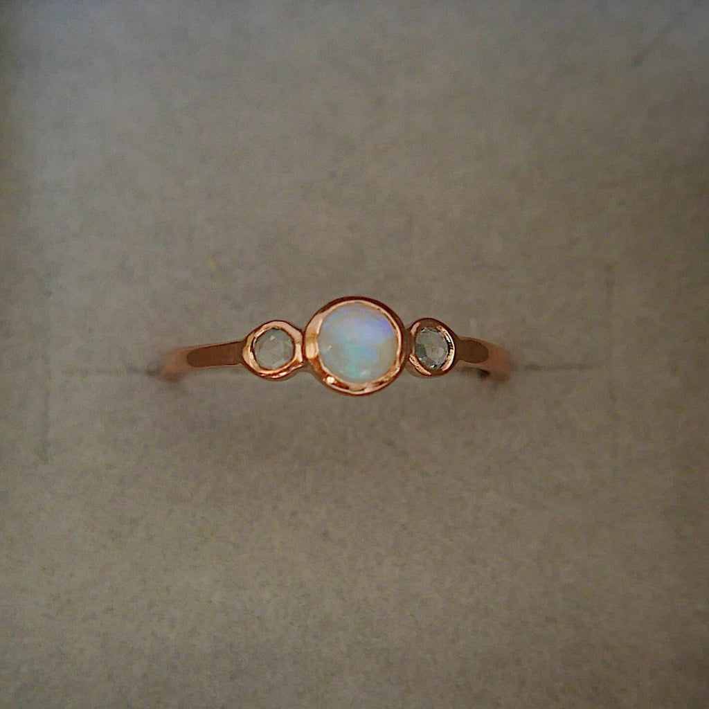 3 Stone Opal Ring, three stone bezel ring, rose cut sapphire ring, 14k gold rosecut sapphire ring, opal ring
