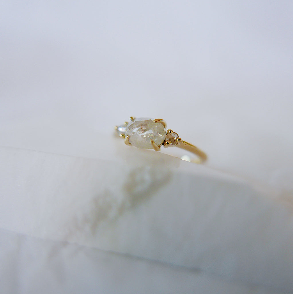 Oval Rose Cut Diamond Ring 2.0, three stone ring, rose cut diamond ring, 14k gold diamond ring, east west ring