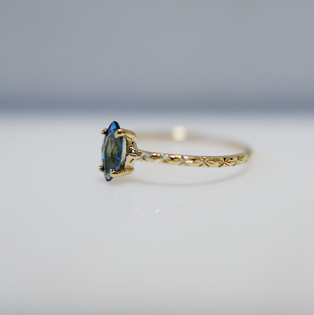 Blue Sapphire Aurora Marquise Ring, marquise ring, blue sapphire ring, starry band, one of a kind, ooak