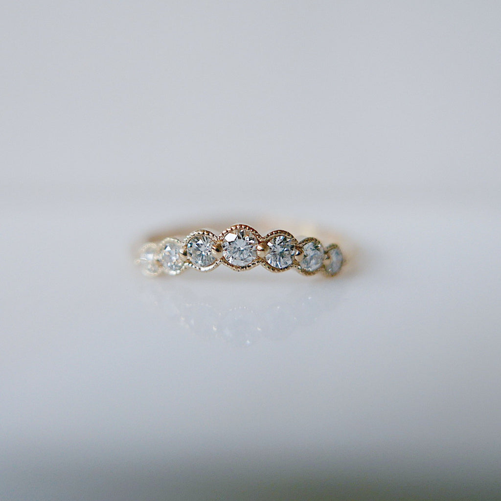 Monet Bezel Diamond Arc Ring, white diamond nesting ring, tracer ring, stacking band, wedding set