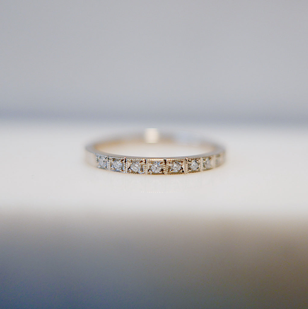 Requited Love Diamond Half Eternity Band, hand engraved diamond ring, wedding band, infinity Geometric ring, vintage inspired band