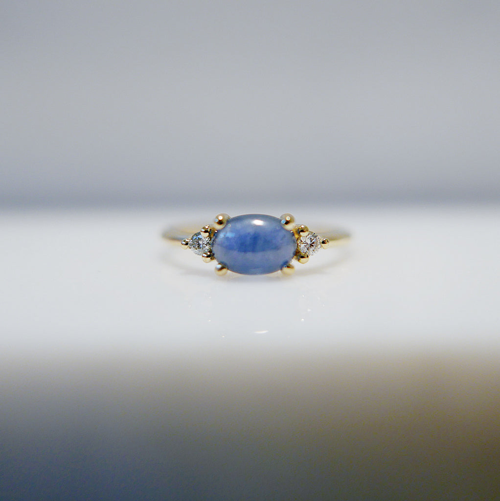 Oval Blue Sapphire Ring 2.0, three stone ring, blue sapphire and diamond ring, 14k gold sapphire ring, east west ring