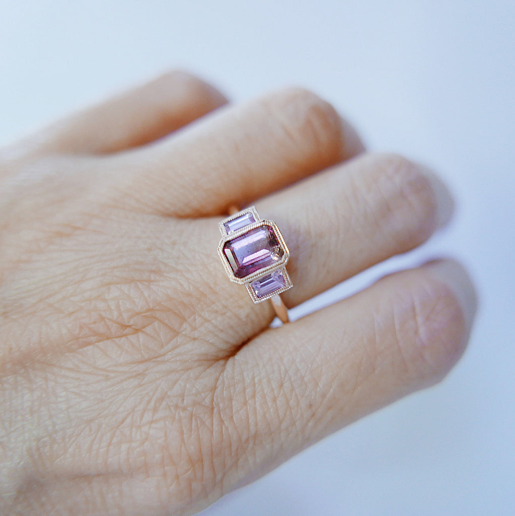Charlotte Three Stone Tourmaline Ring, Tourmaline ring, tourmaline and sapphire ring, Pink stone wedding ring, classic engagement ring, ooak