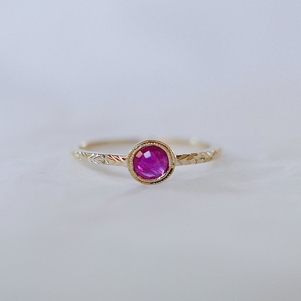 Juliette Ruby Ring, ruby solitaire ring, gold bezel stone ring, 14k gold ruby ring, gold hand engraved band, ooak, rose cut ruby ring