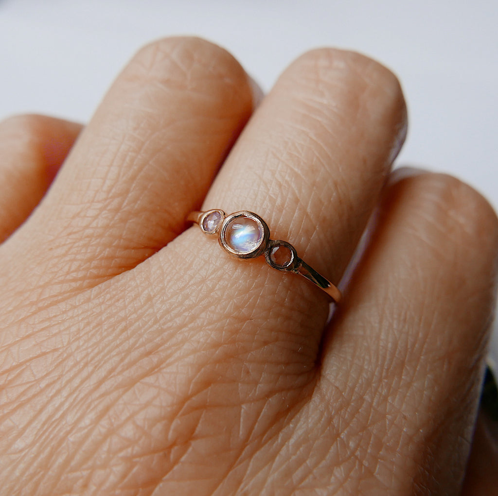 3 Stone Moonstone Ring, three stone bezel ring, rose cut sapphire ring, 14k gold rosecut sapphire ring, moonstone ring
