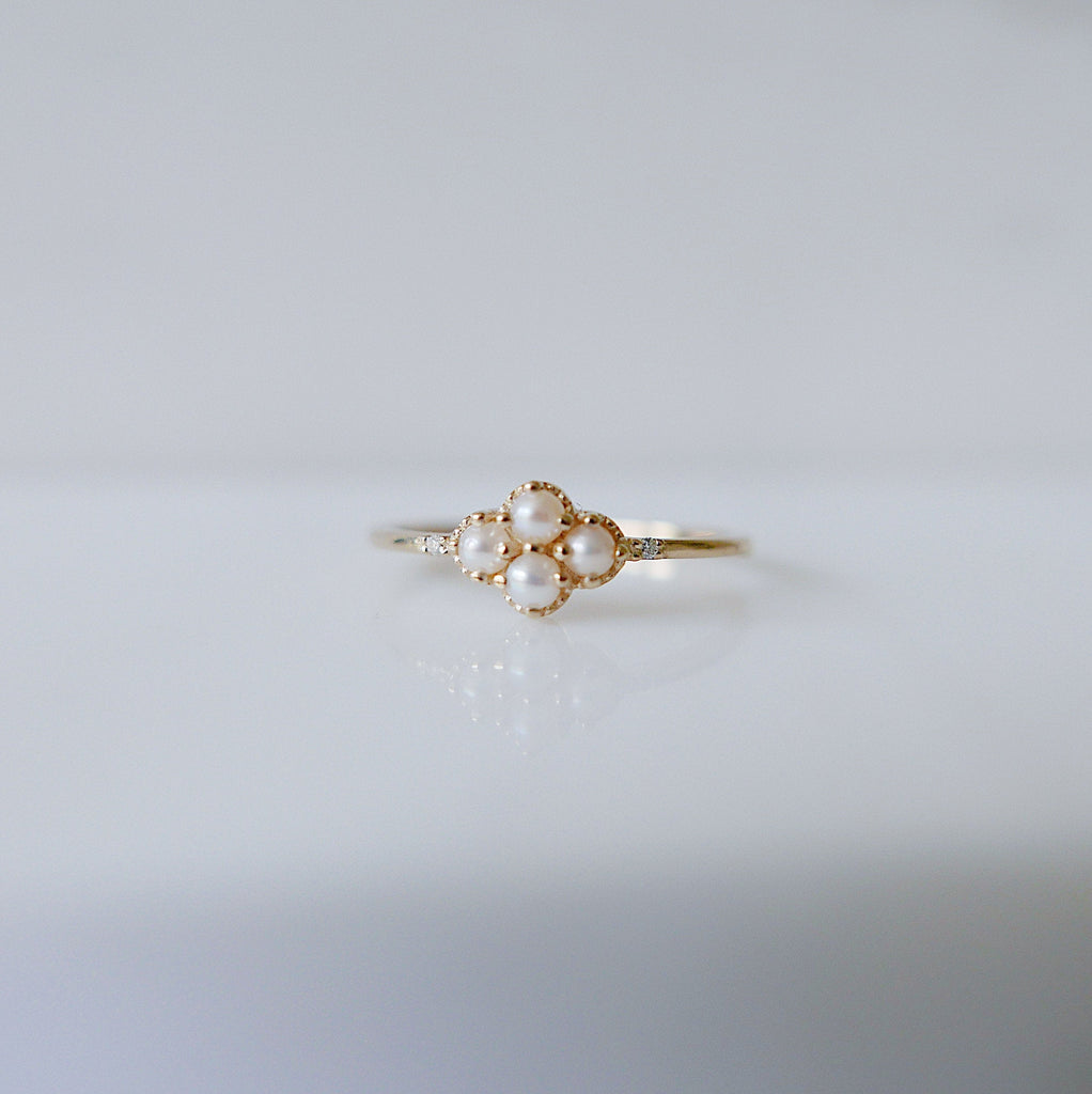 Lil Miss Lady Pearl Ring, dainty Pearl Stacking ring, pearl ring, Pearl cluster band, small pearl ring, gold pearl band, dainty pearl ring