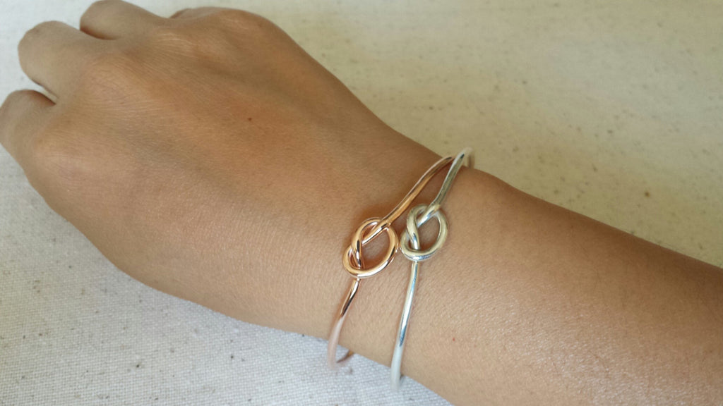Love Knot Cuff, Knot Bracelet, Sterling Silver Forget Me Knot Cuff, knot bangle, love knot bangle