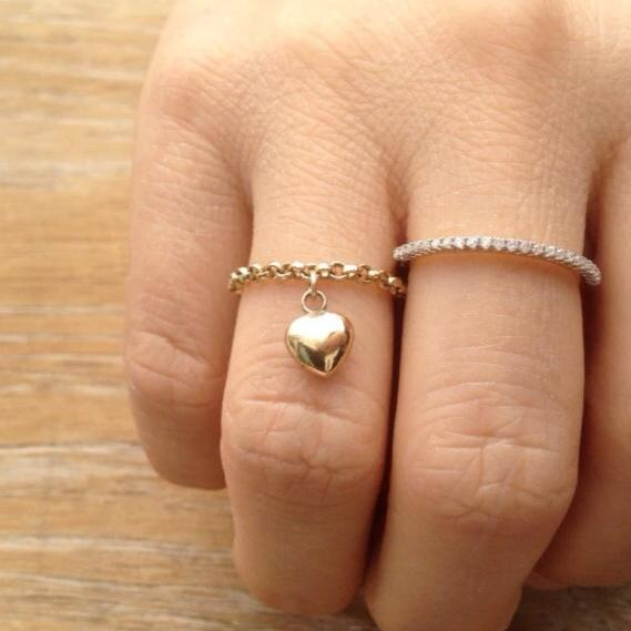 Puffed Heart Ring, Heart Charm Ring, 14k Gold Chain ring with heart charm