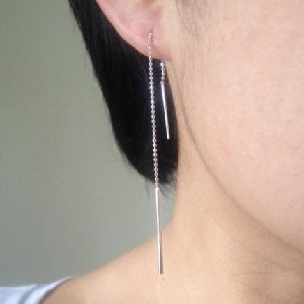 Balance Beam earrings, bar earrings, bar ear threads, bar chain earrings, stick earrings, stick ear threads, sterling silver bar stick