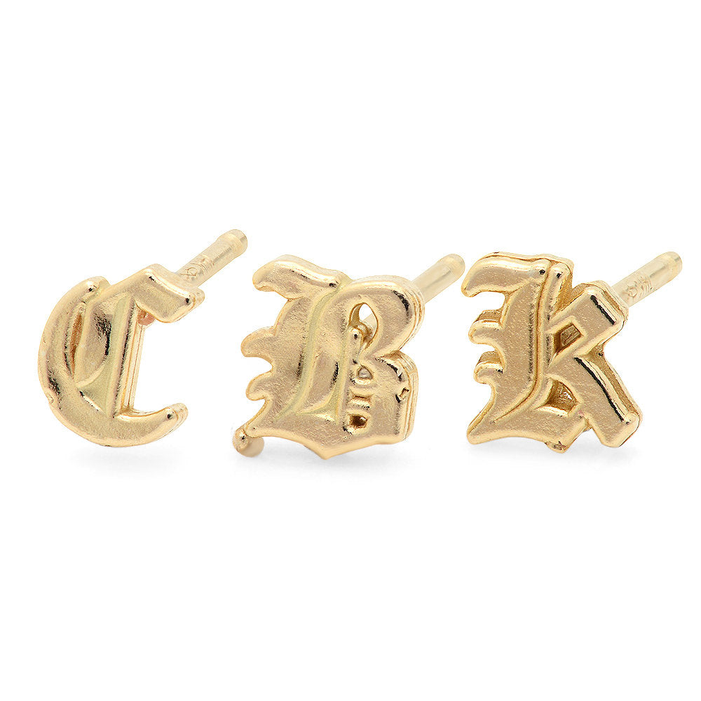 14K Old English Initial Earring, Gold Old English Letter Stud, Single stud, Initial Earring, Initial Studs, Gold Initial Earring