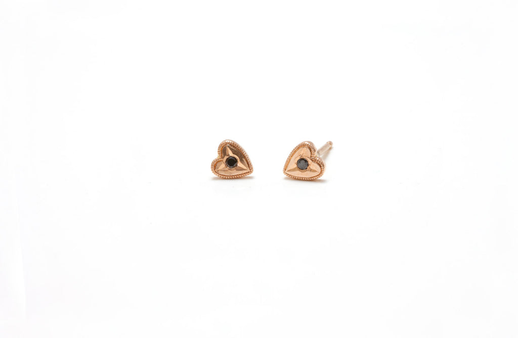 14k Heart studs, diamond studded heart earrings, small heart studs, gold heart earrings, dainty heart earrings