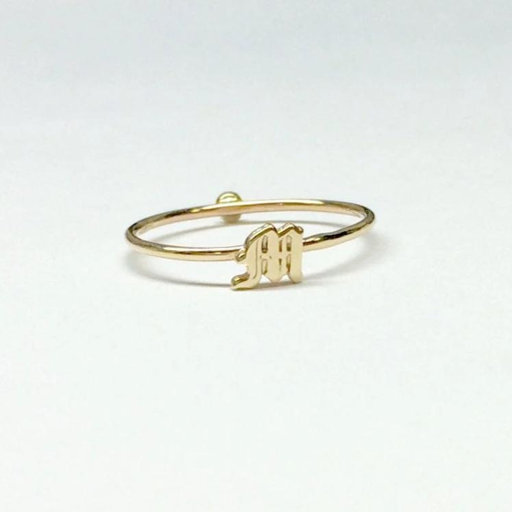 14k Old English Initial and mini solitaire Ring, Letter ring, Initial ring, Old English letter, Two sided stacking ring