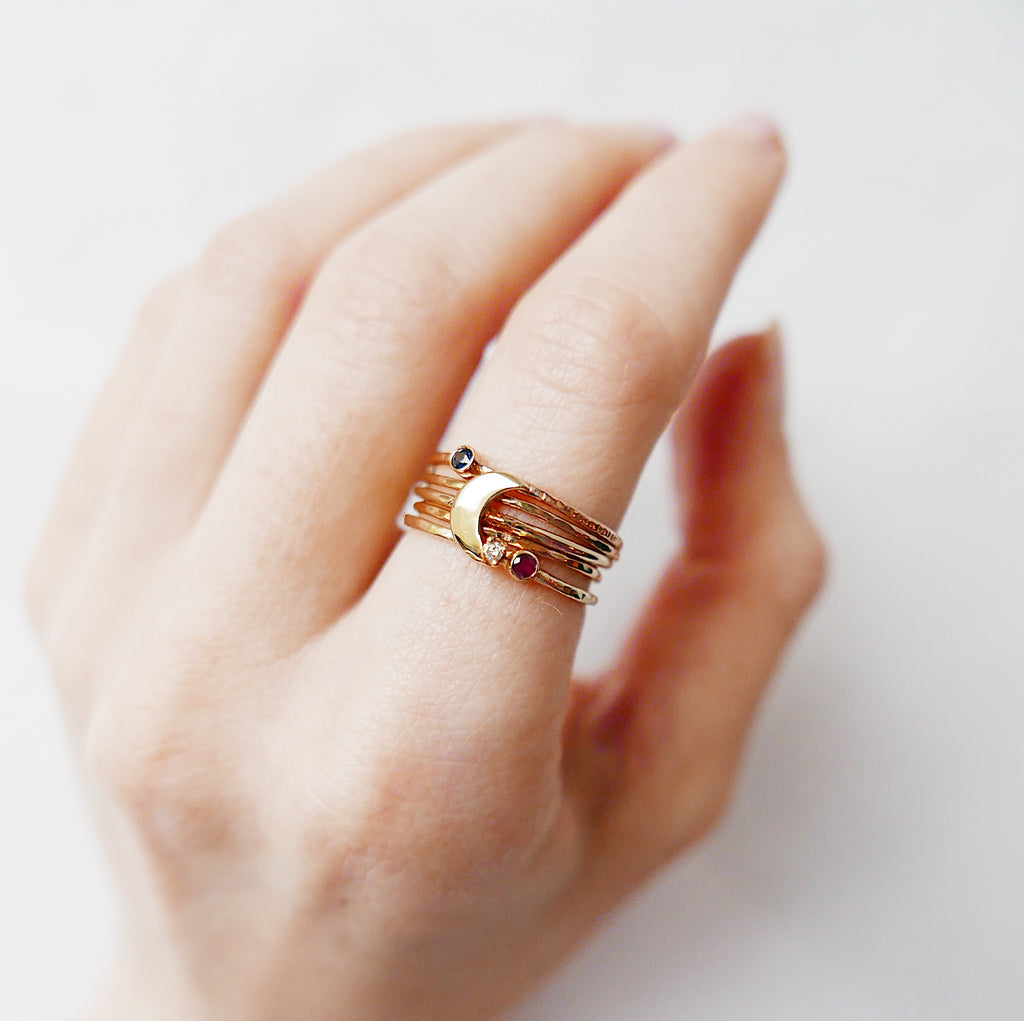 Love You To The Moon & Back Stacked Ring Set