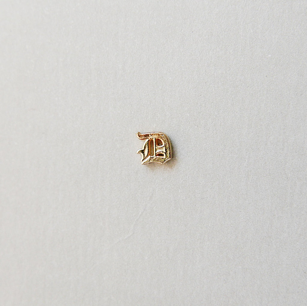 Old English Initial Stud Earring
