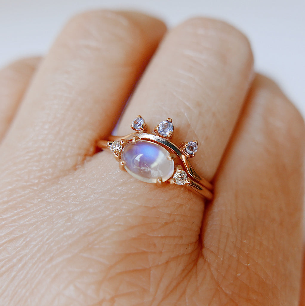 Glowing Moonstone Ring Stack