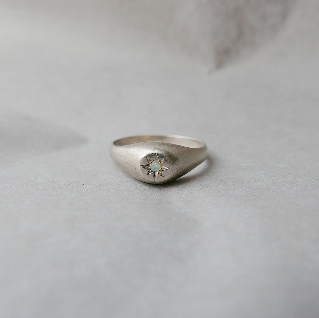 Dome Signet Silver Pinky Ring