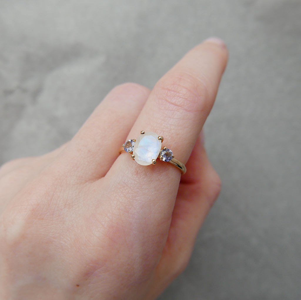 Sydney Oval Moonstone & Tanzanite Ring