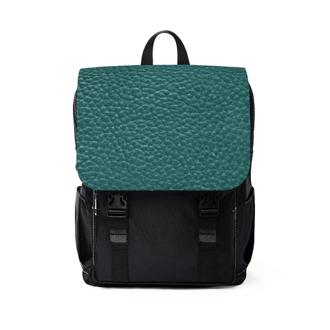 Green Leather Print Unisex Casual Shoulder Backpack