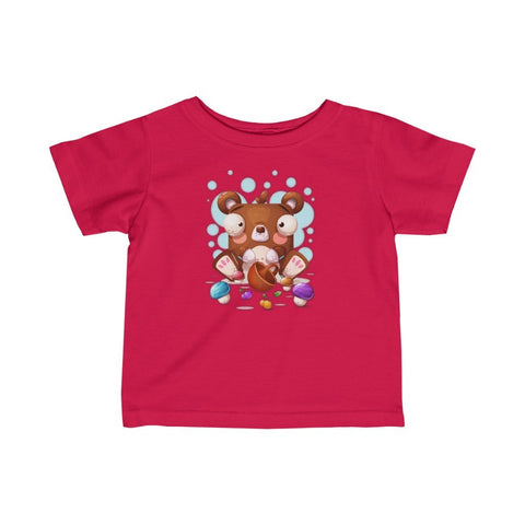 Infant Fine Jersey Printed Tee |  Mushroom Teddy - BnG Wear