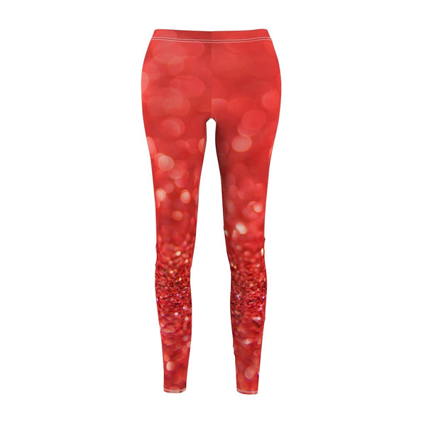 Women's Cut & Sew Casual Leggings | Jeggings | Red Velvet Abstract - BnG Wear