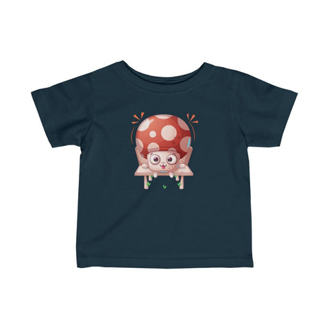 Infant Fine Jersey Printed Tee |  Mushroom sitting on chair - BnG Wear