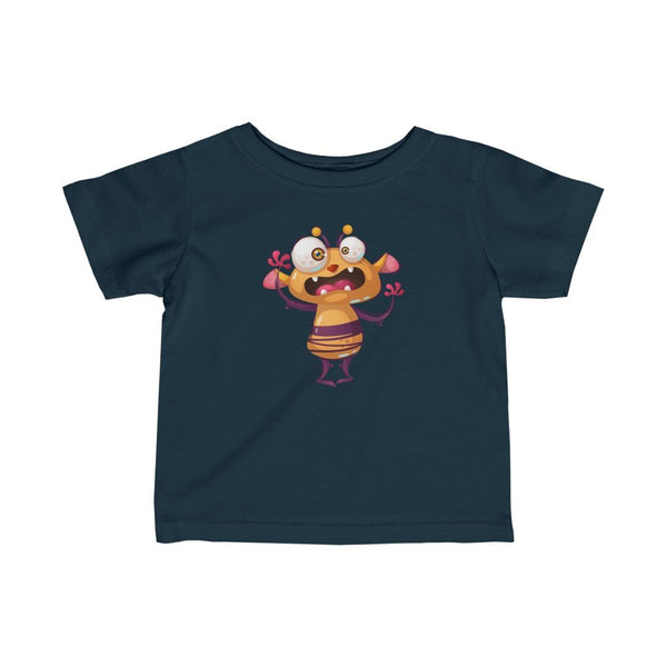 Infant Fine Jersey Printed Tee | cute scary bee monster - BnG Wear
