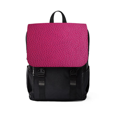 Magenta Leather Print Casual Shoulder Backpack