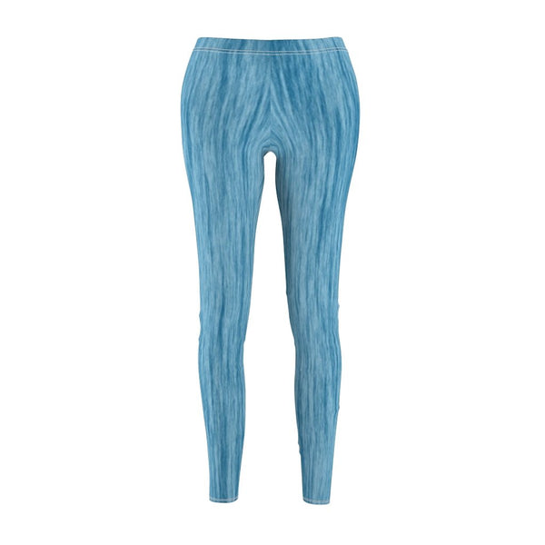 Women's Cut & Sew Casual Leggings | Jeggings | Blue Paint Brush Abstract - BnG Wear