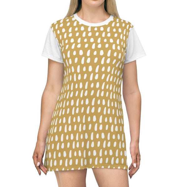 White Paint Brush Drops Dessert Sand Storm T-Shirt Dress - BnG Wear