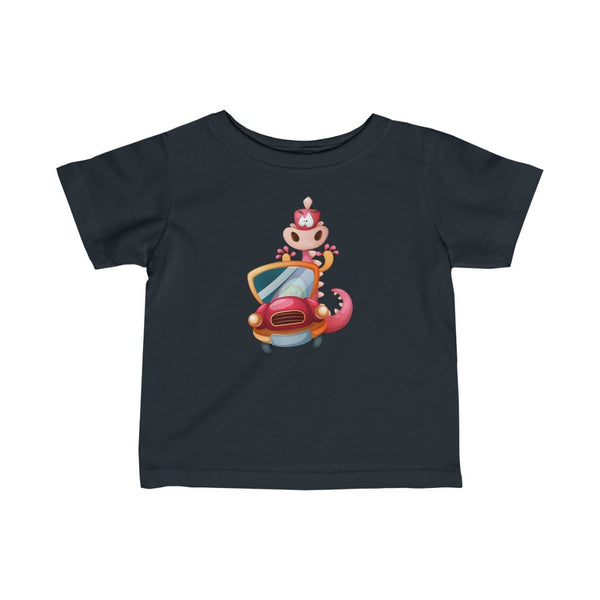 Infant Fine Jersey Printed Tee | Dino in Car - BnG Wear