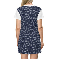 White Dots Navy Blue T-Shirt Dress - BnG Wear
