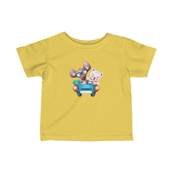 Infant Fine Jersey Printed Tee | Cute Animals in Car - BnG Wear