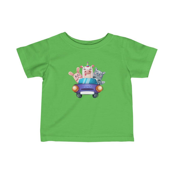 Infant Fine Jersey Printed Tee | Animals in Car - BnG Wear