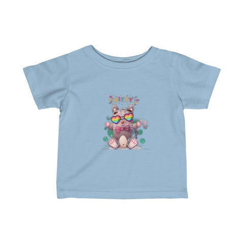 Infant Fine Jersey Printed Tee | Rainbow kitty - BnG Wear