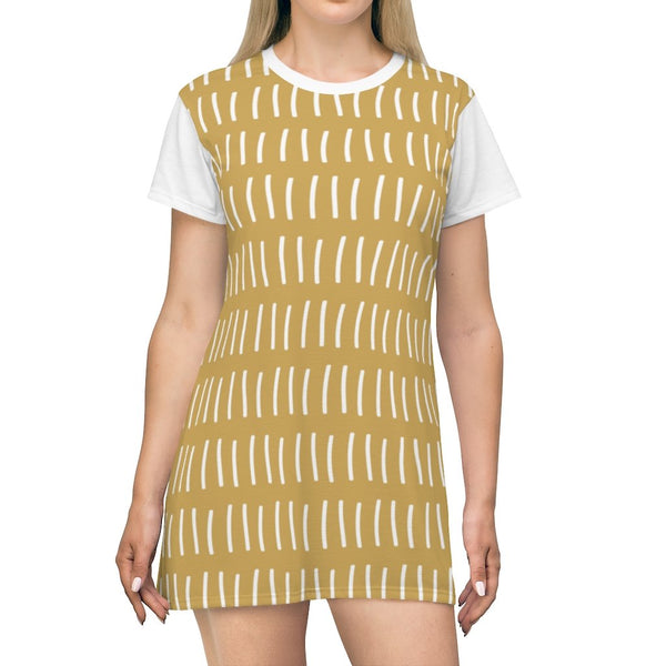 Verticals lines Dessert Sand Storm T-Shirt Dress - BnG Wear