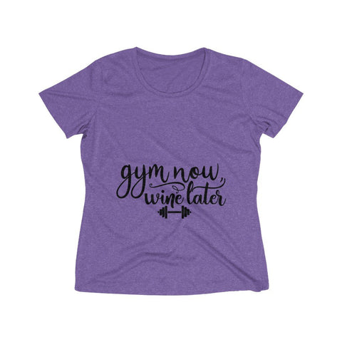 Gym Now Wine Later Women's Heather Wicking Tee - BnG Wear