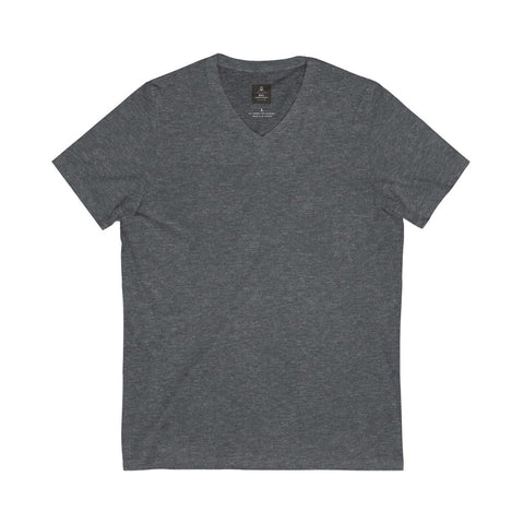 Unisex Jersey Short Sleeve Dark Grey Heather Tee (V- Neck)