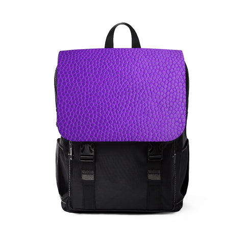 Purple Leather Print Unisex Casual Shoulder Backpack