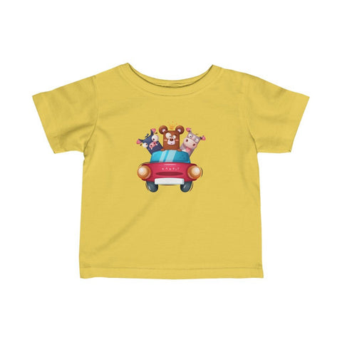 Infant Fine Jersey Printed Tee | cool Animals in Car - BnG Wear