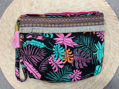 Leaf Patterned Cosmetic Bag