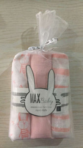 MUSLIN WRAPS (SET OF 3) PINK BUNNY STRIPED 80X80CM