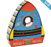 Load image into Gallery viewer, Floss & Rock 12 Pc Shaped Jigsaw Puzzle - Rocket