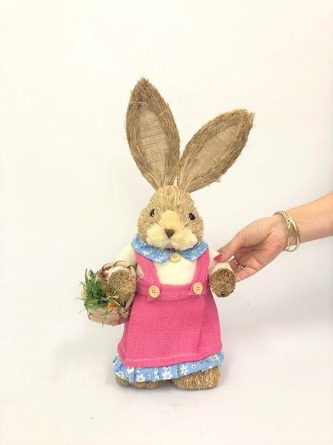 45cm BRISTLESTRAW RABBIT EASTER BUNNY WITH BASKET PINK FEMALE