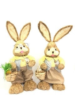 65cm BRISTLESTRAW RABBIT EASTER BUNNY WITH BASKET YELLOW MALE or FEMALE