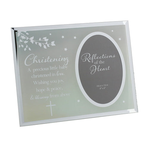 REFLECTIONS OF THE HEART OVAL MIRRORED FRAME - CHRISTENING