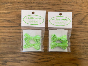LIME GREEN BOW CLIPS