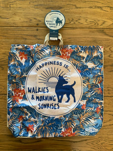 Linen Reusable Shopping Bag - Happiness Is Walkies & Morning Sunrises