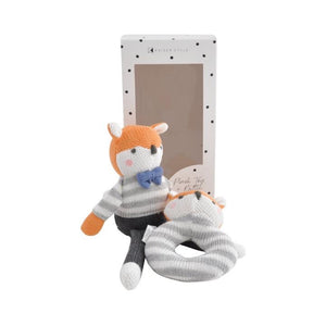 PLUSH TOY & RATTLE - MISTER FOX